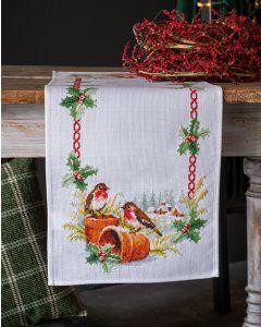 Vervaco tafelkleed roodborstjes in de winter borduren met telpatroon pn-0147403