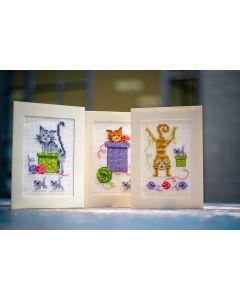 Vervaco wenskaarten met omslag speelse katten set van 3 borduren pn-0145206