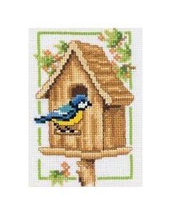 Borduurpakket Vogelhuisje herfst is een telpakket  van vervaco
