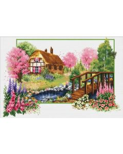 Voorbedrukt borduurpakket lente huisje op aida Needleart World 640.045