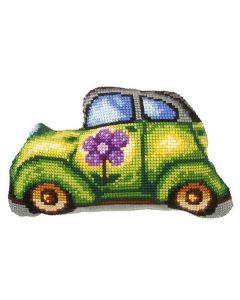 Voorbedrukt kruissteek kussen auto als borduurpakket  orchidea art 9328