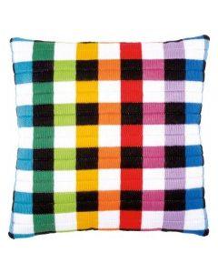 Voorbedrukte borduurkussen spansteek Gekleurde vierkanten Vervaco pn-0150843