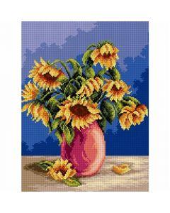 Voorbedrukte stramien boeket zonnebloemen  Orchidea 2346j