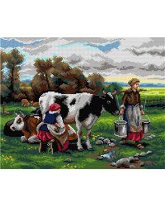 Voorbedrukte stramien melkmeisjes in het veld van Julien Dupre Orchidea 299M