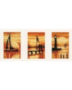 Vervaco borduurpakket wenskaarten met omslag Zonsondergang aida set van 3 borduren pn-0156893