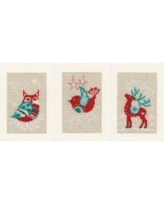 Wenskaarten met omslag Winterfiguren aida set van 3 borduren Vervaco pn-0158162