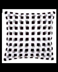 Borduurpakket spansteek kussen zwarte blokjes van vervaco