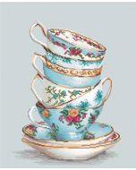 Borduurpakket turquoise themed tea cups om te borduren in kruissteek van Luca-s ba2325