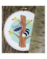 Borduurpakket geboorte Wasbeer in de boom incl borduurring Vervaco PN-0151859