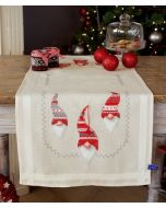 Vervaco tafelloper kerstkaboutertjes pn-0155966 voorbedrukt borduren