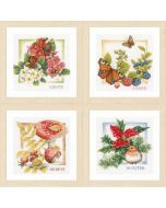4 Borduurpakketten lente, zomer, herfst en winter van Lanarte om te borduren Marjolein Bastin