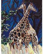 Voorbedrukt canvas/stramien Giraffen - Girafes au grand coeur om te borduren van Margot (Guy Marchi)