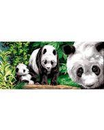 Voorbedrukt canvas / stramien Entre les bambous - pandaberen en bamboe om te borduren van Margot