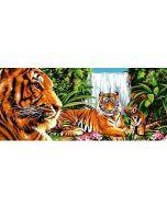 Voorbedrukt canvas / stramien Verte jungle - tijgers in de jungle om te borduren van Margot