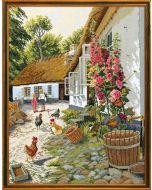 Eva Rosenstand borduurpakket boerderij met kippen en stokrozen 72-710 linnen