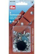 Prym holle nieten voor materiaaldikte 6-9 mm, 9mm zilver 8 stuks