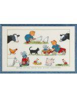 Permin borduurpakket geboortetegel Boerderij Arthur - Happy Friends 90-8303