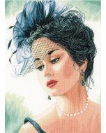 Borduurpakket Lanarte Dame met hoedje van de serie Romance