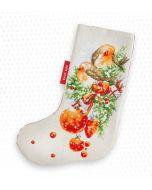 Borduurpakket Christmas Stocking Robin - kerstsok roodborstje om te borduren van Luca-s