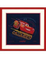 Borduurpakket geboortetegel Lightning McQueen met gierende banden met telpatroon Cars van vervaco pn-0167543