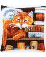 Borduurpakket  Kat tussen boeken vervaco pn-0163873  kruissteekkussen