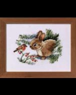 Borduurpakket konijn en roodborstje telwerk van Vervaco