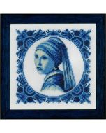 Borduurpakket meisje met de parel Johannes Vermeer  aida van lanarte pn-0158329