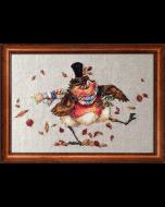 Borduurpakket robin's jig met telpatroon van Nimuë Fée Main roodborstje