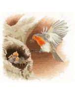 Borduurpakket Roodborstje in de vlucht (Robin in Flight) van heritage crafts om te borduren