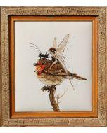 Borduurpakket The robin's Fariy met telpatroon van Nimuë Fée elf met roodborstje