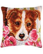 Borduurpakket voorbedrukt kruissteekkussen hond met roze klaprozen Collection d'Art  5213