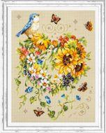 Borduurpakket  bloemenhart met vlinders en vogel  - Magic needle 100-141  met telpatroon