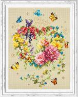 Borduurpakket  bloemenhart met vlinders  - Magic needle 100-144  met telpatroon