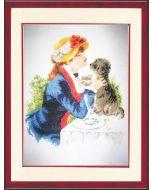 Borduurpakket dame met hond telwerk van Vervaco
