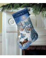 Dimensions borduurpakket kerst sok slee rijden in winterdorp 8712 borduren
