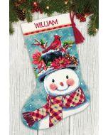 Dimensions borduurpakket Kerstsok sneeuwpop borduren voorbedrukt 71-09159
