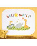 Borduurpakket Voorbedrukt Hello World met quilt ondergrond