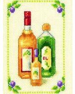 Borduurpakket Flessen is een telpakket  van vervaco