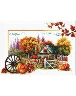 Voorbedrukt borduurpakket Autumn farm - herfst boerderij op aida Needleart World 540.043