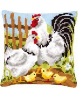 Borduurpakket  kussen  Kippenfamilie op de boerderij
