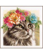 Lanarte borduurpakket kat Main Coon met bloemenkrans pn-0191867