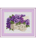 Borduurpakket met telpatroon violen van Luca-s Pansies b259