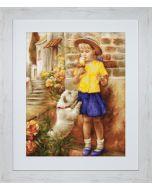 Luca-S borduurpakket Meisje met een ijsje en hondje b527 borduren