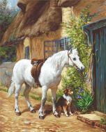 Borduurpakket met telpatroon cottage met paard en hond van Luca-s