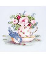 Luca-s borduurpakket Bird in Tea Cup om te borduren ba2324