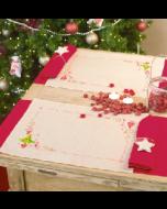 Set van 2 placemats met omgezoomde boord. kerstboom en hartjes