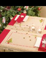 Set van 2 placemats met omgezoomde boord. kerstboom