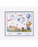 Vervaco borduurpakket geboortetegel beren met een ooievaar (anna) pn-0011996