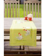 Voorbedrukte loper Witte kippen om te borduren 40x100cm