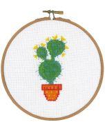 Borduurpakket met borduurring Cactus en gele bloem vervaco pn-0155973